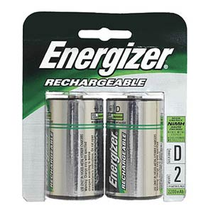 Rechargeable D Battery, NiMH, 2500mah, 2 Pack NH50BP-2 - Energizer