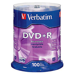 DVD+R 16X 4.7GB Branded 100 Pack Spindle 95098 - Verbatim