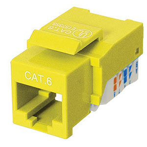 CAT6 Network (RJ45) Keystone Jack, Tool-Free, Yellow ZT1800327 - Ziotek