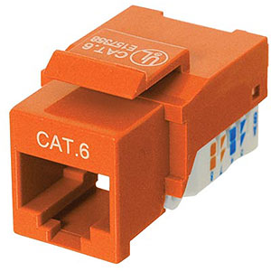 CAT6 Network (RJ45) Keystone Jack, Tool-Free, Orange ZT1800328 - Ziotek