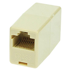 Modular 8P8C Inline Coupler, Reverse (Rolled) Ivory - Universal