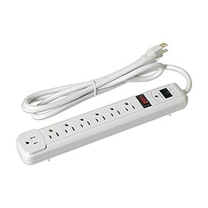7 Outlet Plastic Power Strip 6ft, White ZT1120100 - Ziotek
