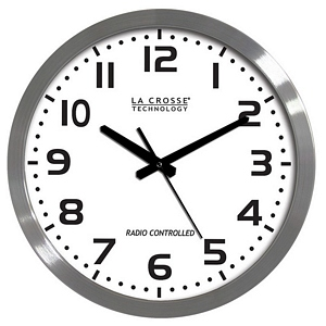 Brushed Metal 16in. Analog Atomic Clock, White WT-3161WH - La Crosse
