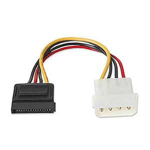 Serial ATA Power Cable 4-Pin Molex To 15-Pin SATA CB-SATA-PW - Alpha Omega