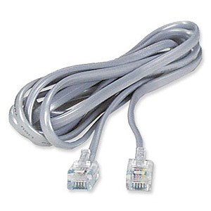 7ft. Telephone RJ11 (RJ12) 6P6C Modular Flat Cable, Straight Connector, Silver - Universal