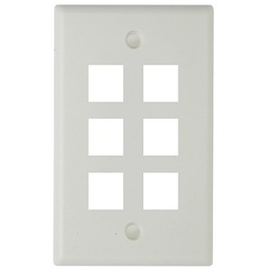 6 Hole Keystone Faceplate, White - Universal