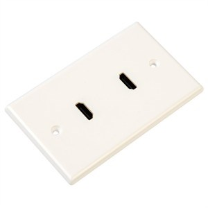 2 Port HDMI Wall Plate, White - Universal
