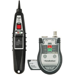 Pocket Cat RJ45/Coax Tester With Lighted Probe Network Cable Tester Kit CTX200P - Byte Brothers