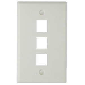 3 Hole Keystone Faceplate, White - Universal