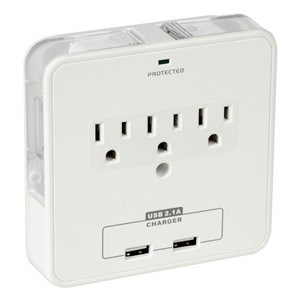 3 Outlet, 2 USB Ports Duo Device Holder Wall Tap, White - Universal